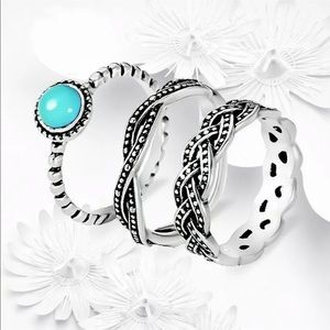 💍 RING TRIO 💍 turquoise size 9 😍